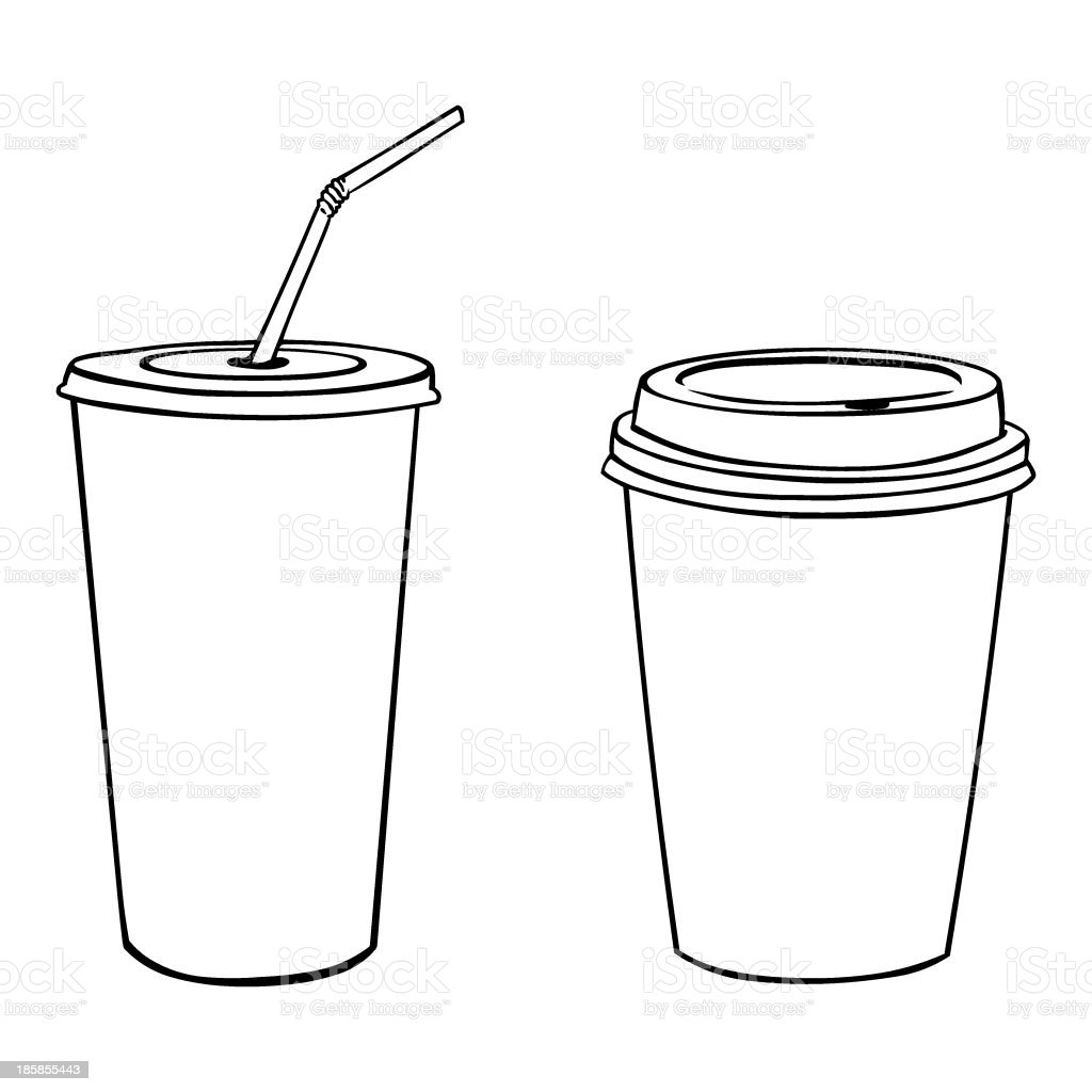 vector silhouettes of plastic cups vector art illustration