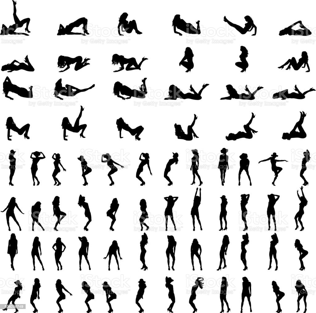 Vector silhouettes of sexy women. vector art illustration