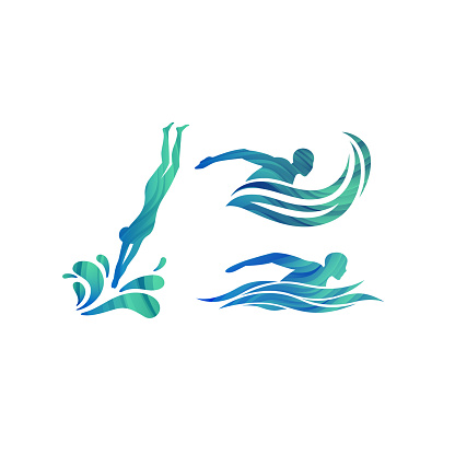 Vector Silhouettes of Swimmers. Concept for Swimming Pools Logo, Competitions Icon and Symbol for Swim School.