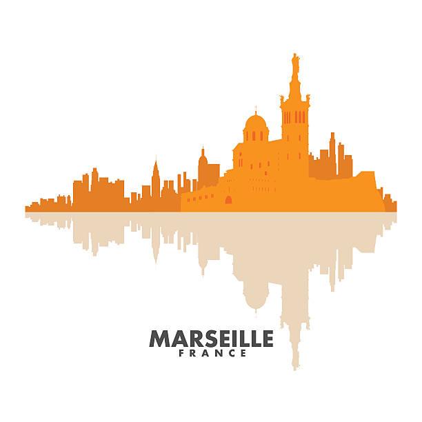 stockillustraties, clipart, cartoons en iconen met vector silhouettes of the city - marseille