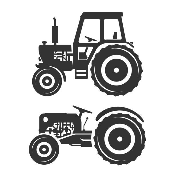 illustrazioni stock, clip art, cartoni animati e icone di tendenza di vector silhouettes of tractors - trattore