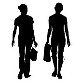 Vector silhouettes of two young slim girls girlfriends in full growth walking with bags, packages in their hands. Shopping trip from the back