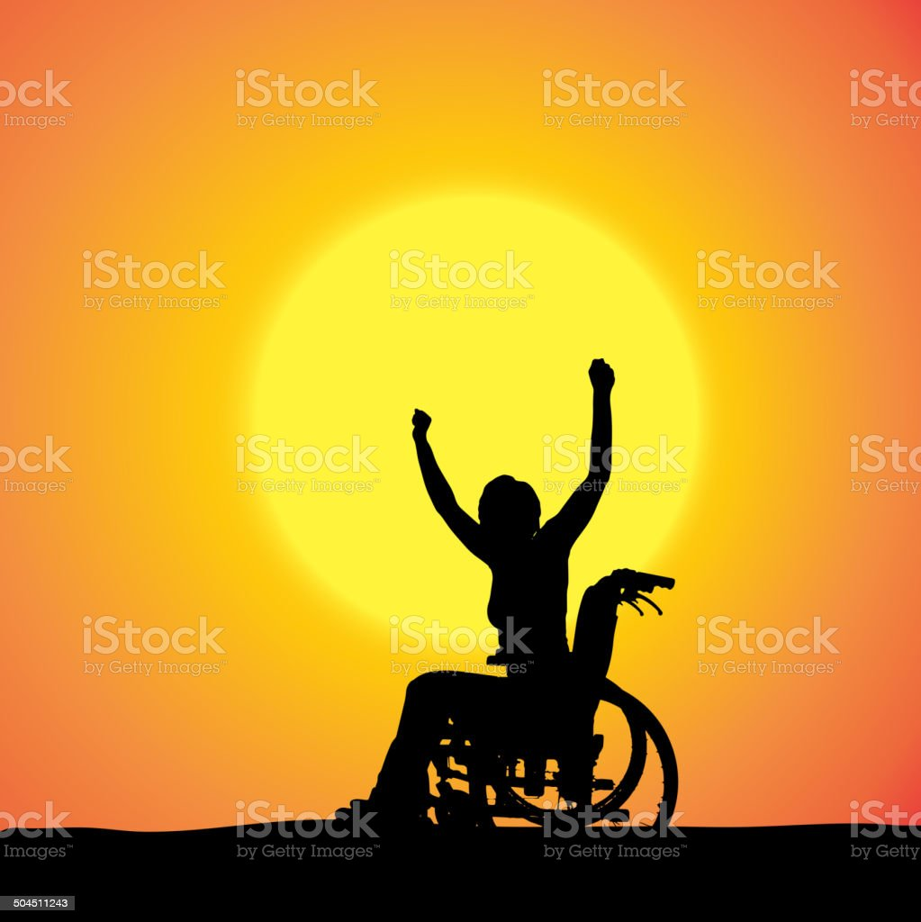 Vector silhouettes of woman in a wheelchair. vector art illustration