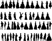 Vector silhouettes of women in period dresses
