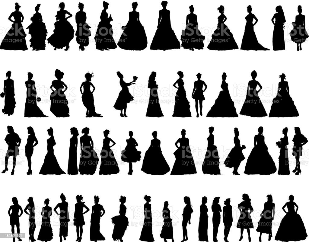 Vector silhouettes of women in period dresses vector art illustration