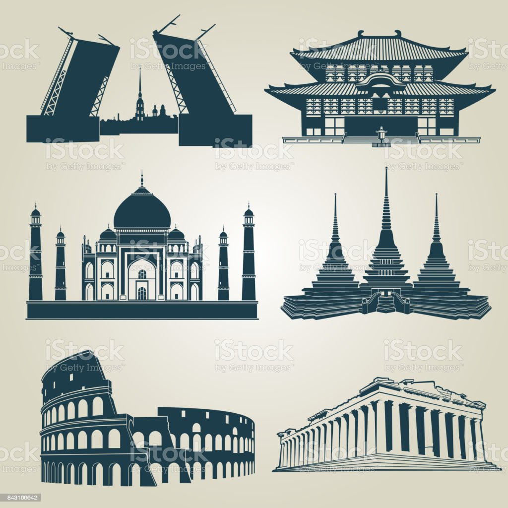 Vector silhouettes of world tourist attractions. Famous landmarks and destination symbols vector art illustration