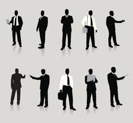 Vector silhouettes of young businessmen