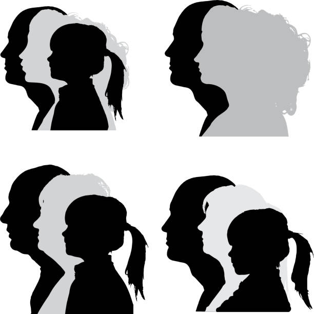 vector silhouettes people. - old man face silhouettes stock illustrations, clip art, cartoons, & icons