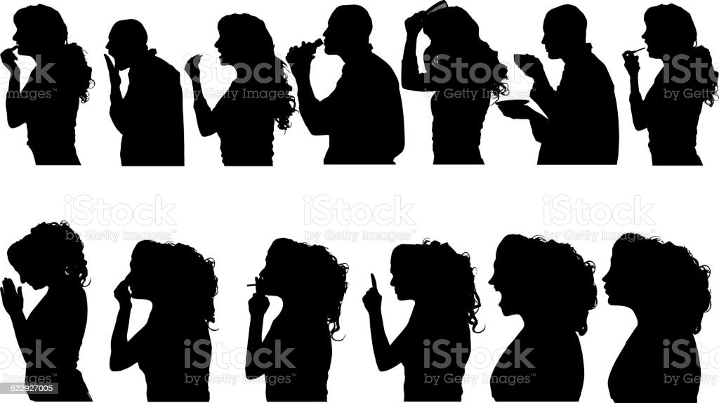 Vector silhouettes people. vector art illustration