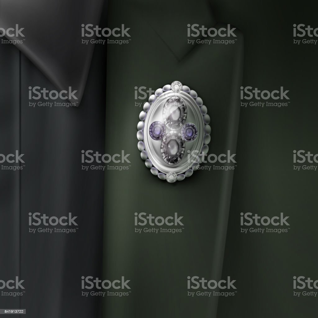 Vector silver brooch vector art illustration