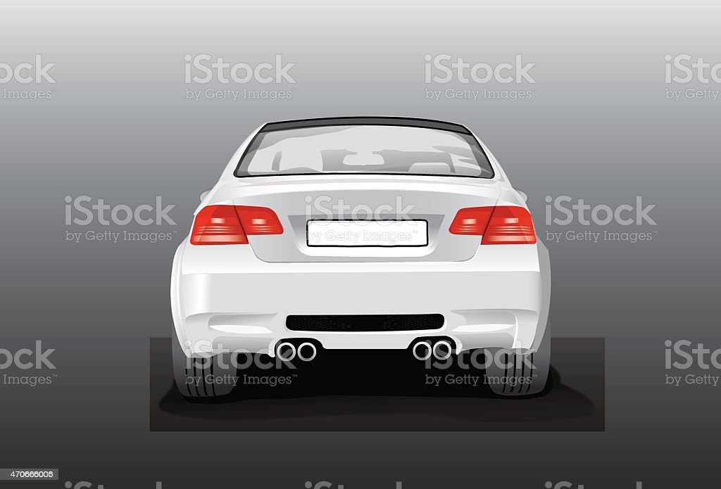 vector silver car - back view vector art illustration