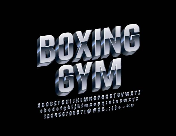 ilustraciones, imágenes clip art, dibujos animados e iconos de stock de vector plata emblema boxing gym con letras 3d alfabeto, números y símbolos - boxeo deporte