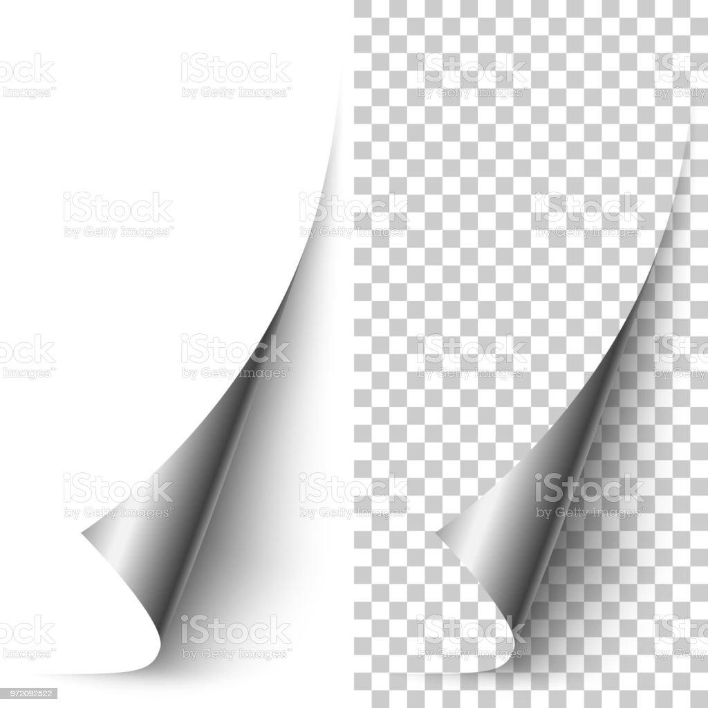 Vector silver foil vertical paper corner rolled up vector art illustration