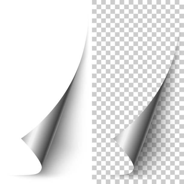 vector silver foil vertical paper corner rolled up - aluminum foil roll stock illustrations, clip art, cartoons, & icons
