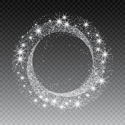 Vector silver glitter circle abstract background, silver sparkles on white background, silver glitter card design. vector illustration vip design template