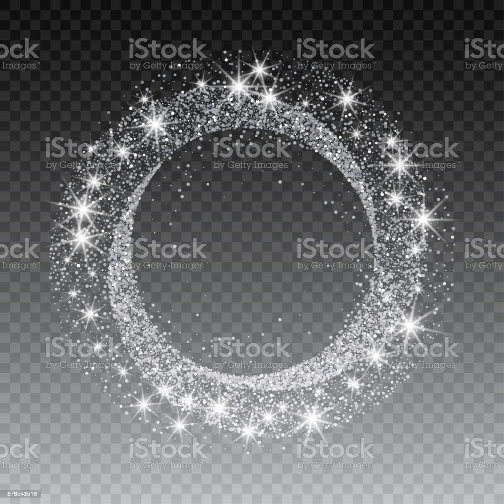Vector silver glitter circle abstract background, silver sparkles on white background, silver glitter card design. vector illustration vip design template vector art illustration