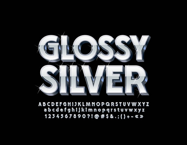 Vector Silver Glossy 3D Font with sparkling Stars Set of stylish Alphabet Letters, Numbers and Symbols three dimensional stock illustrations