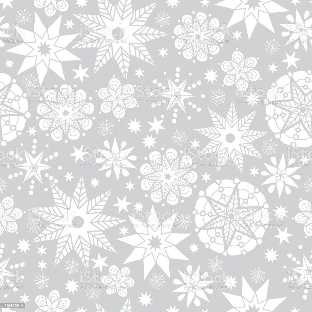Ilustración de Vector Gris Plata Y Blanco Resumen Doodle Estrellas ...