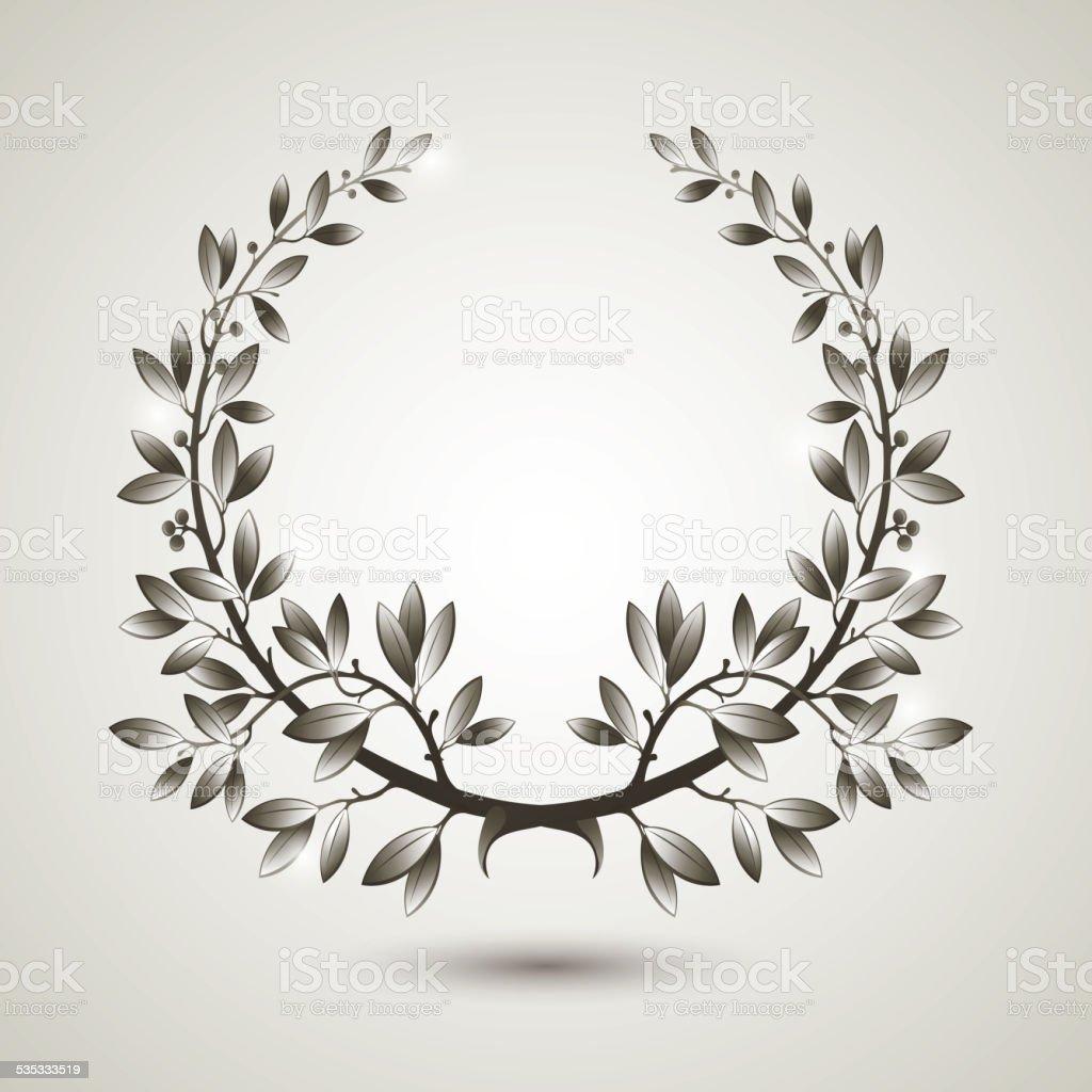 Vector silver laurel wreath vector art illustration