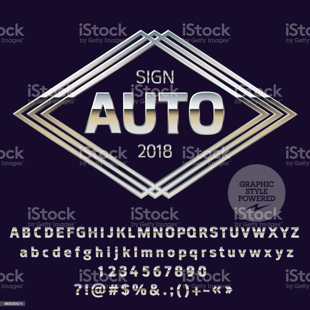 Vector Logo de plata plantilla para tienda de coches de lujo - ilustración de arte vectorial
