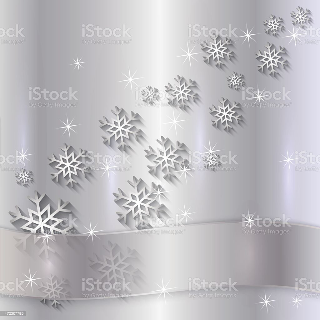 Vector Silver Plate with snowflakes  and Ribbon royalty-free stock vector art