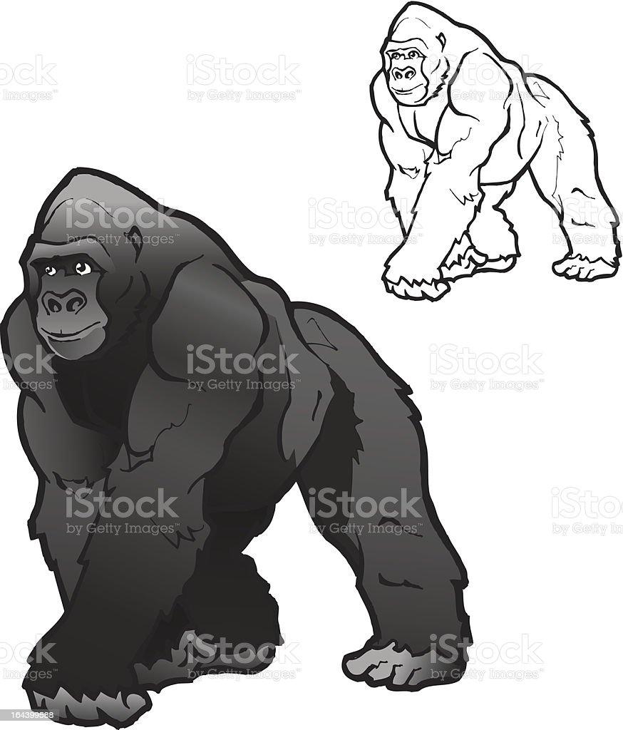 Illustration vectorielle de Gorille mâle à dos argenté - Illustration vectorielle