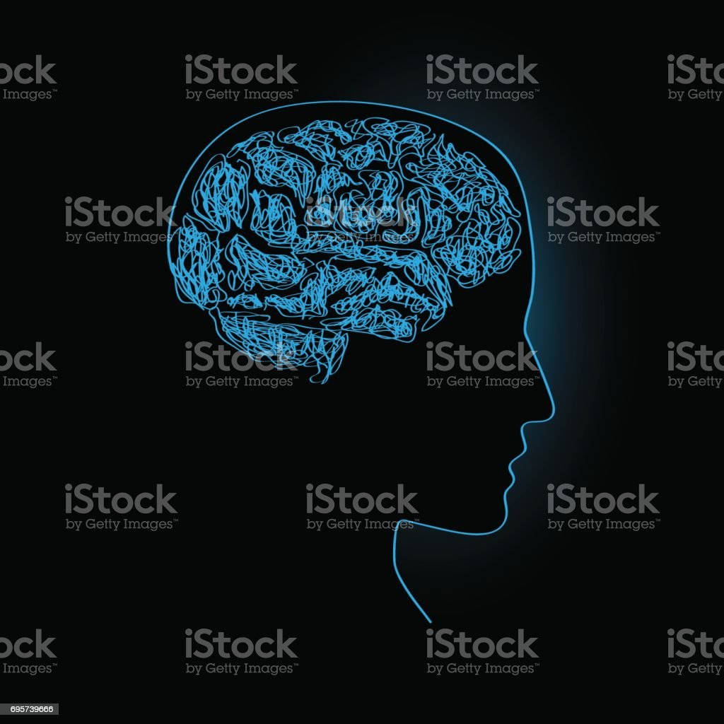 Vector Simple Brain Thinking Concept Stock Vector Art & More