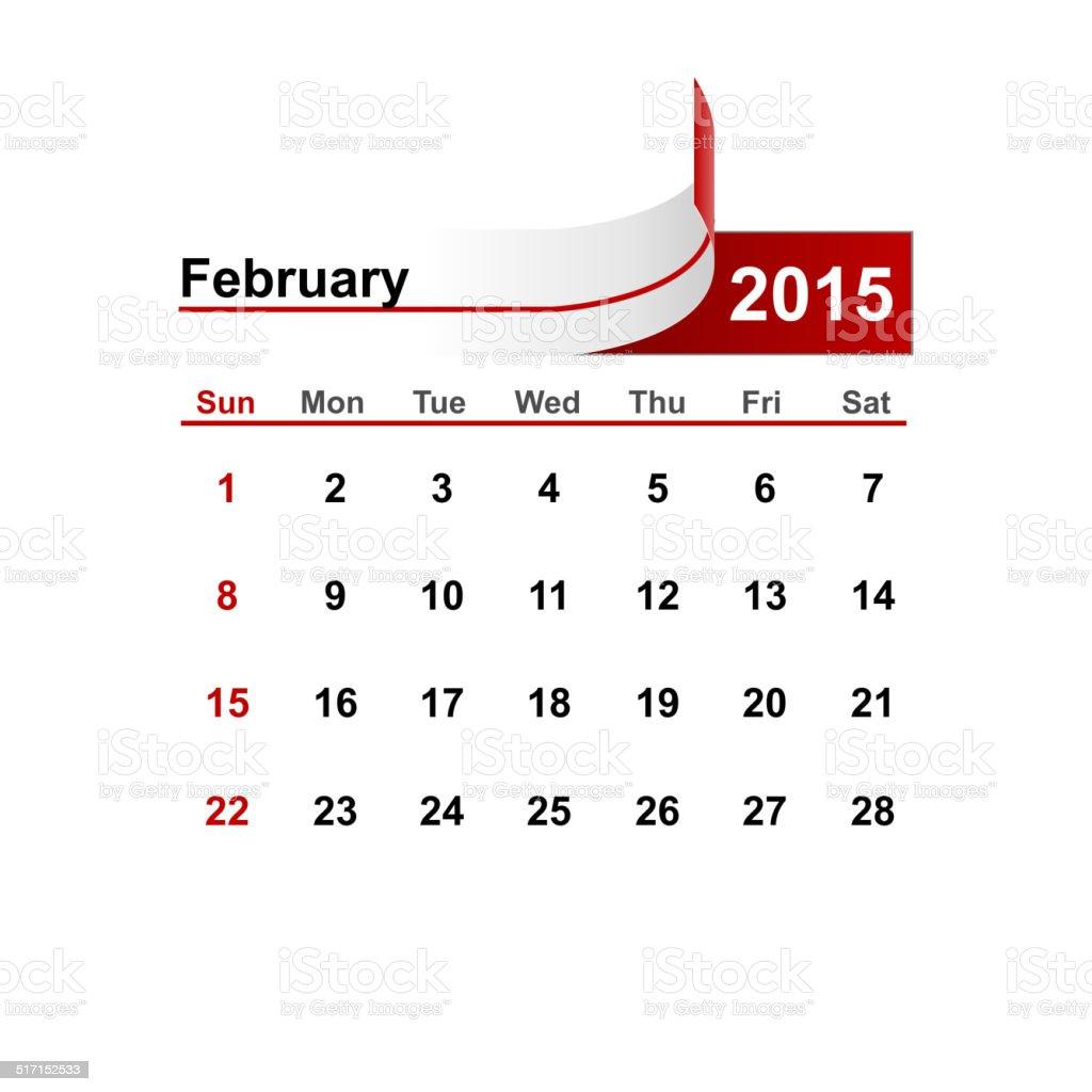 Vector simple calendar 2015 year february month. vector art illustration