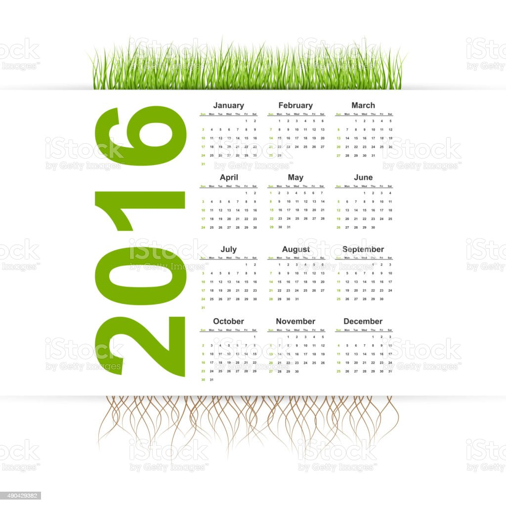 Office Calendar 2016 : Vector simple calendar year grass style stock vector art