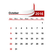 Vector simple calendar 2016 year october month.