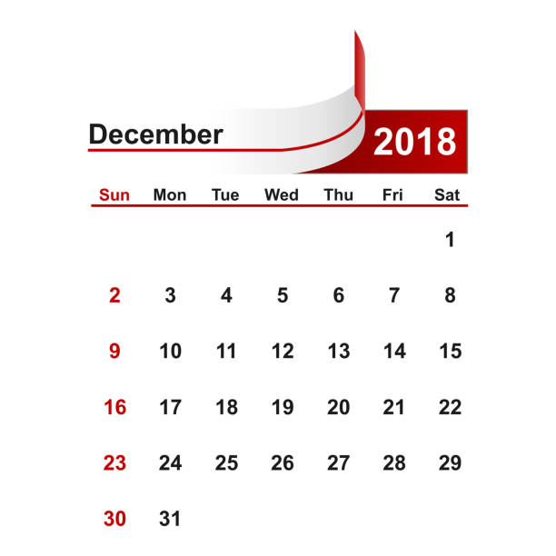Vector simple calendar 2018 year december month. vector art illustration