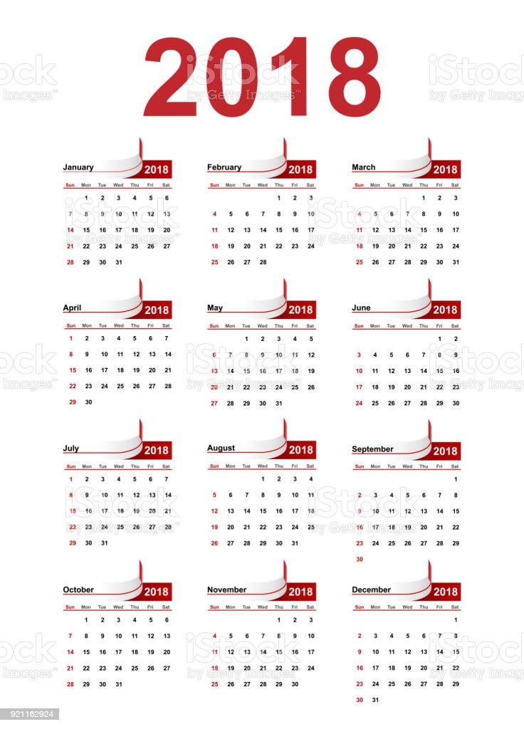vector simple calendar 2018 year royalty free vector simple calendar 2018 year stock vector