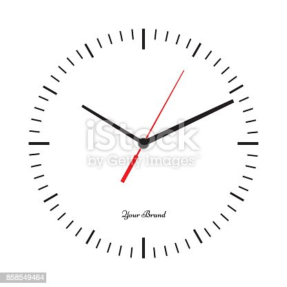 Vector simple classic clock icon without numbers. Clock with solid and flat color design. Isolated white background. Place your icon.