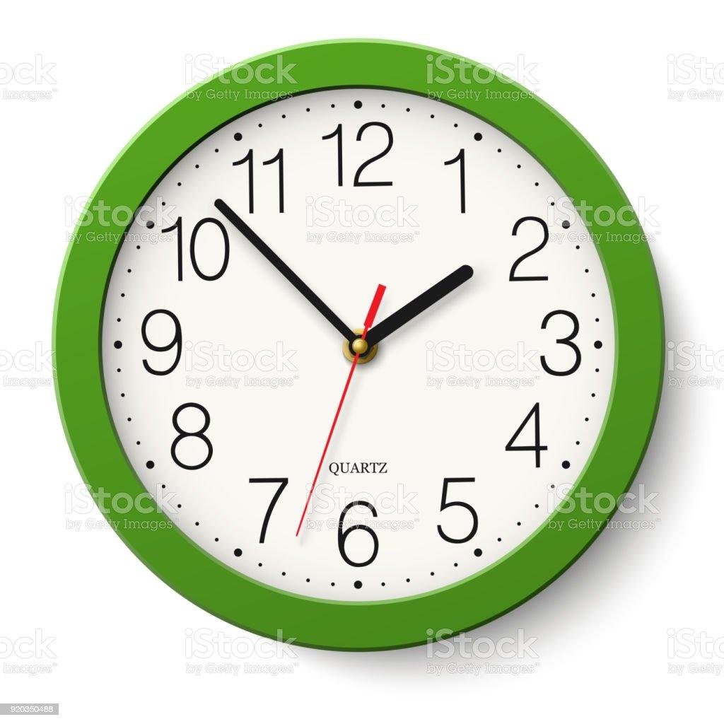 Reloj de pared redondo verde clásico simple vector aislado en blanco - arte vectorial de Blanco - Color libre de derechos