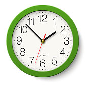 Vector simple classic green round wall clock isolated on white