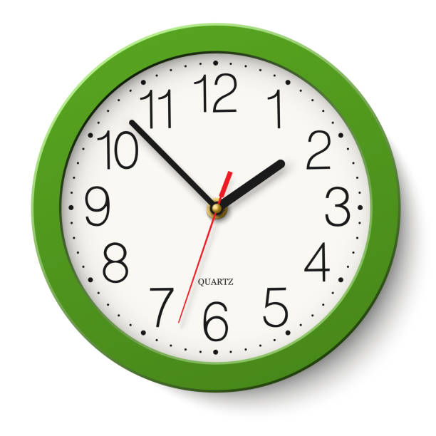 vector simple classic green round wall clock isolated on white - clock stock illustrations