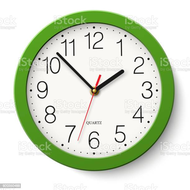 Ilustración de Reloj De Pared Redondo Verde Clásico Simple Vector Aislado En Blanco y más Vectores Libres de Derechos de Blanco - Color