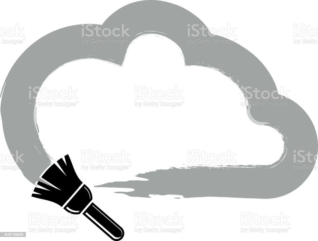 Vektör Basit Bulut Boyama Fırça Meteoroloji Işareti Ile