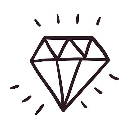 Vector simple doodle outline icon. A sparkling gem, emerald or diamond shape.