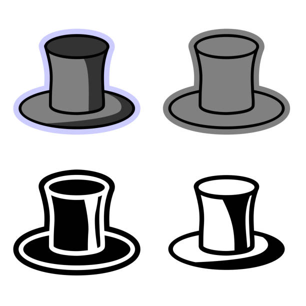 Vector simple flat icons of the top hat vector art illustration