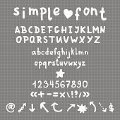 Vector simple hand drawn alphabet, numbers and signs