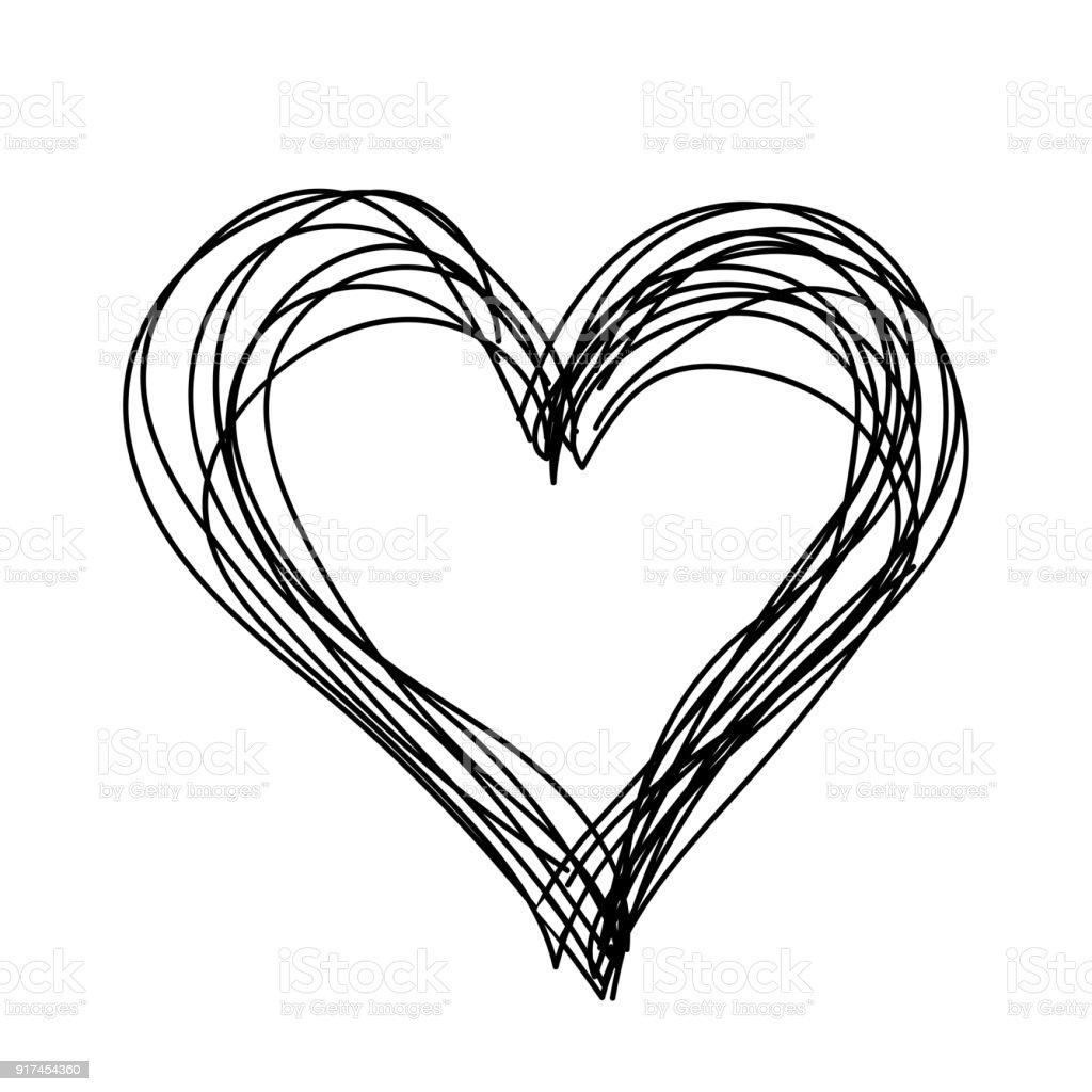 Vector simple heart black and white. Children hand drawn. векторная иллюстрация