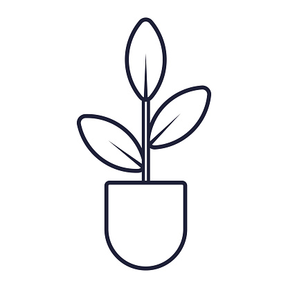 Vector simple icon of home plant in a pot. Black and white isolated outline sticker.