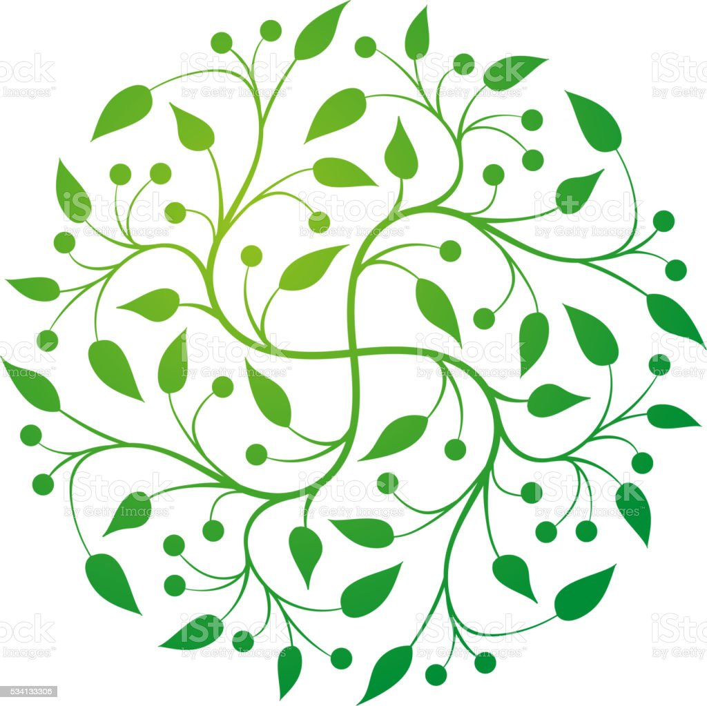 Vector simple round floral design. vector art illustration