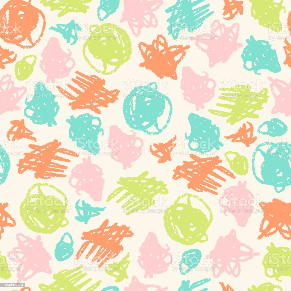 vector simple seamless pattern with crayons draw color scribbles