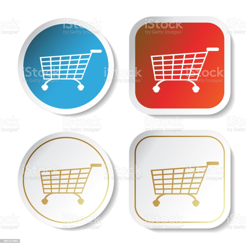 Vector simple shopping cart, trolley with rounded and squared stickers on white background, item, button royalty-free vector simple shopping cart trolley with rounded and squared stickers on white background item button stock vector art & more images of basket