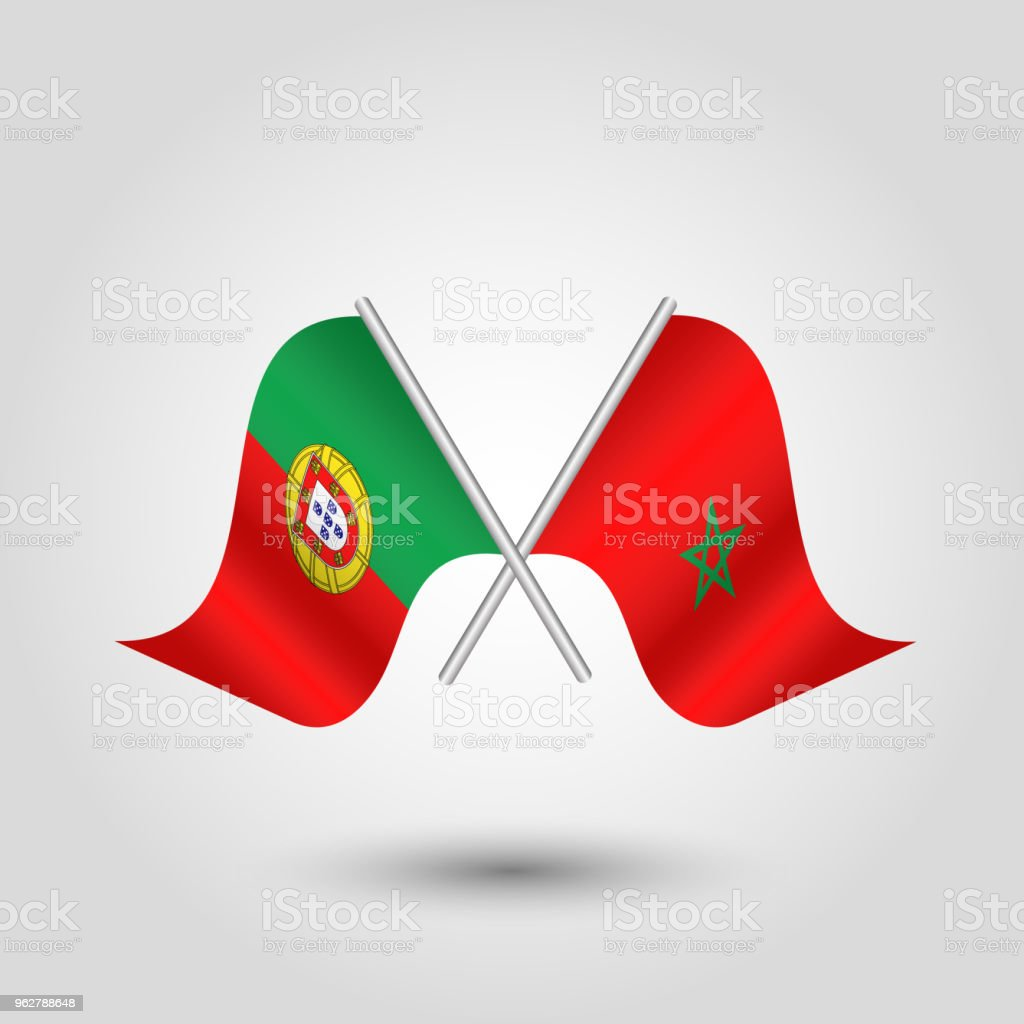 vector simple two crossed poruguese and moroccan flags - arte vettoriale royalty-free di Concetti