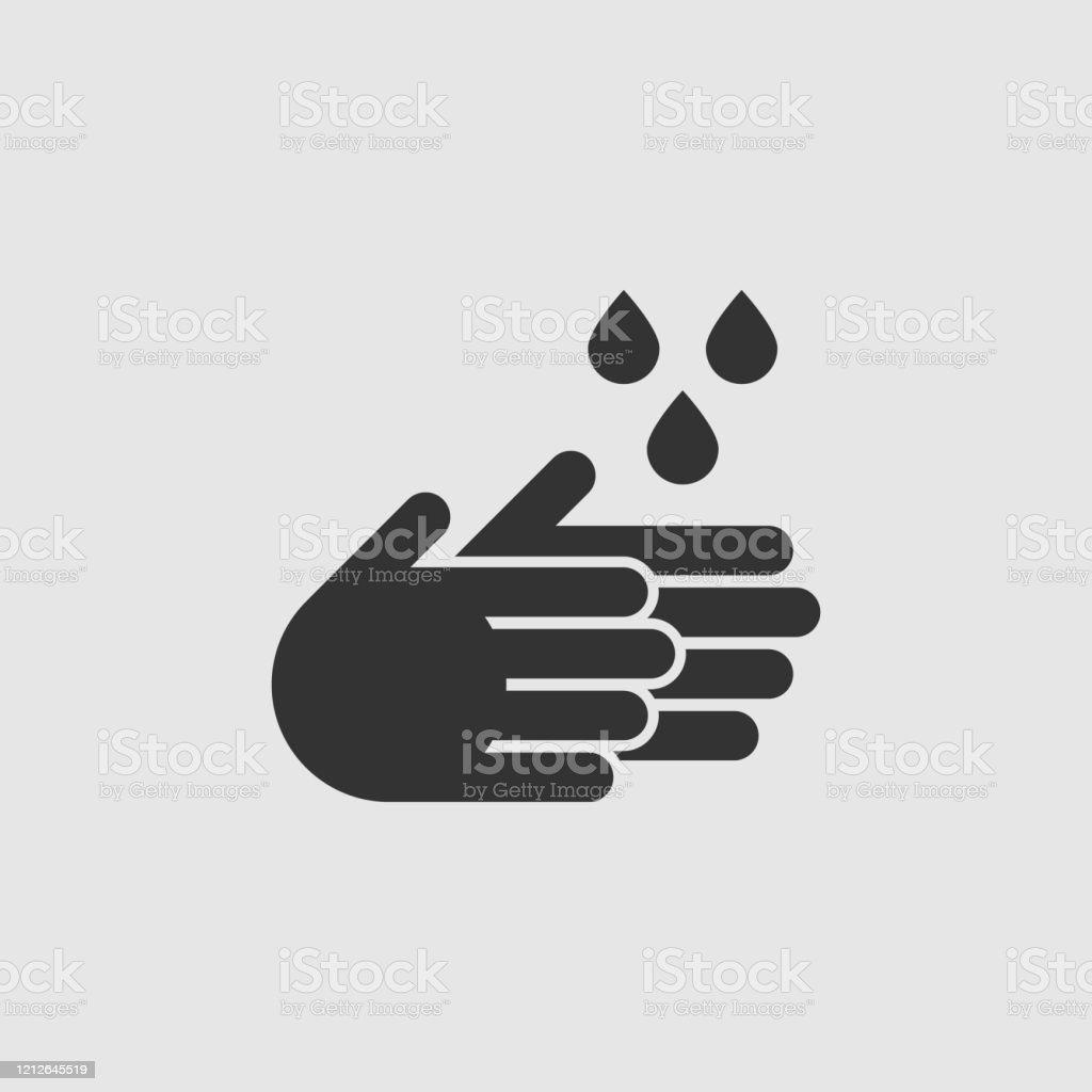 Ícone das mãos de lavagem simples do vetor - Vetor de Bactéria royalty-free