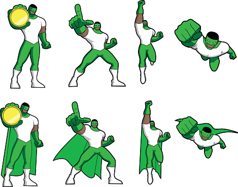 Vector Simplified Black Superhero Set