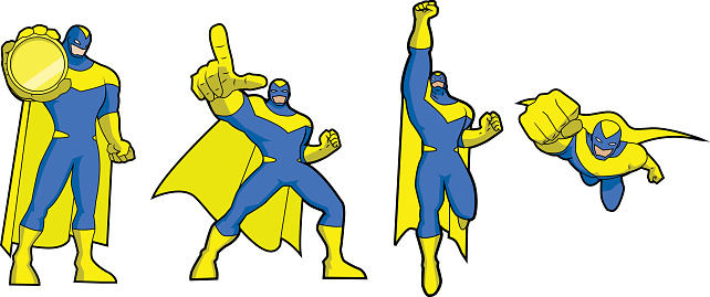 Vector Simplified Costumed Superhero Set